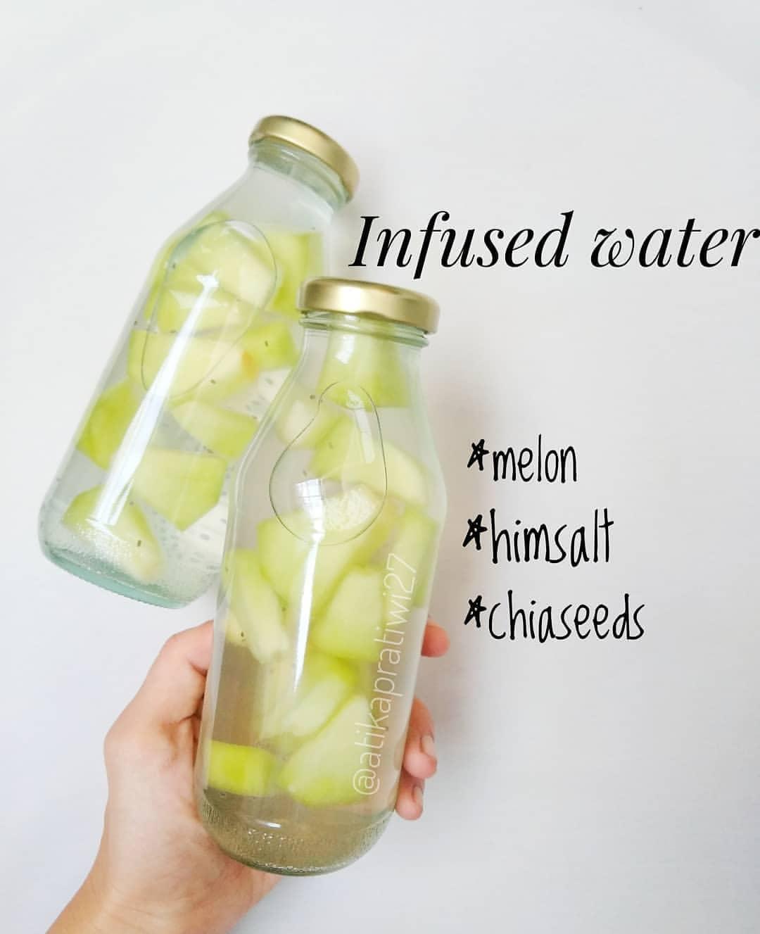 Bismillah Infused water hari ini . Melon Himsalt Chia seeds Air suhu normal . Ma...