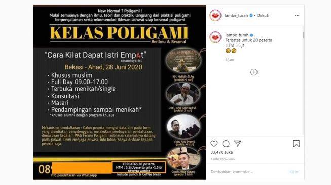 Viral Poster Kelas Poligami saat New Normal (Instagram)