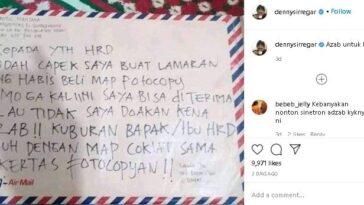 Surat lamaran kerja mengancam staf HRD. (Instagram/@dennysiregar)